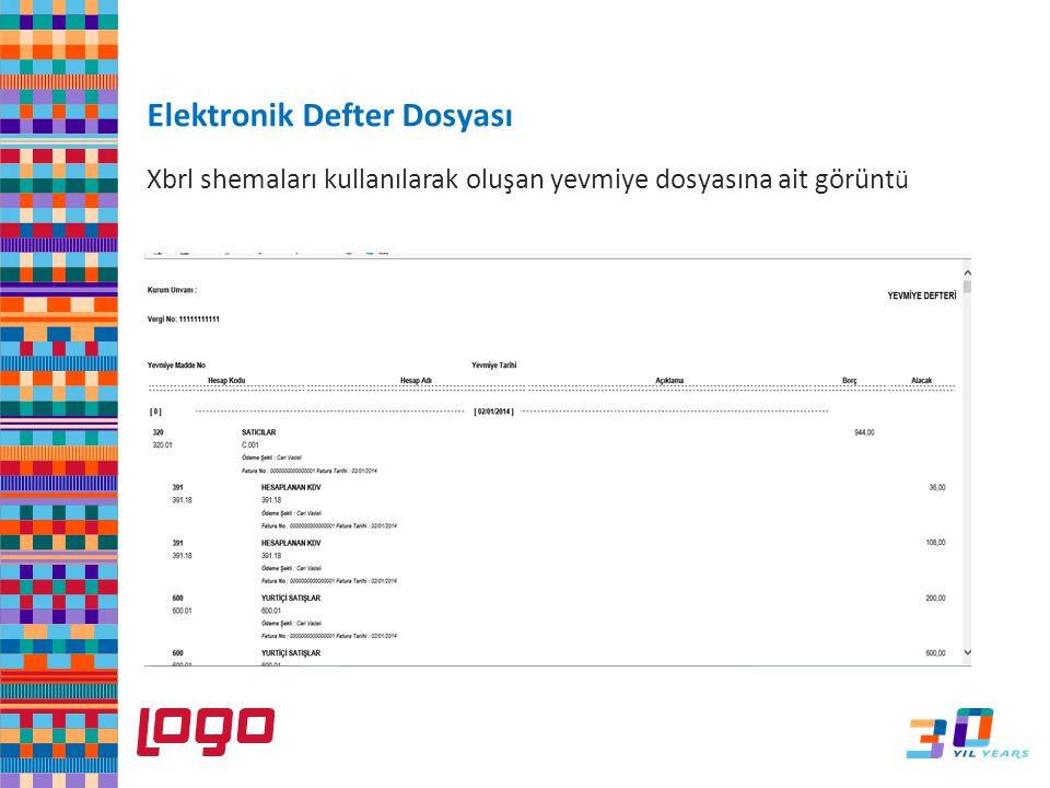 Xbrl shemaları kullanılarak oluşan yevmiye dosyasına ait görünt ü e-Defter Elektronik Defter Dosyası