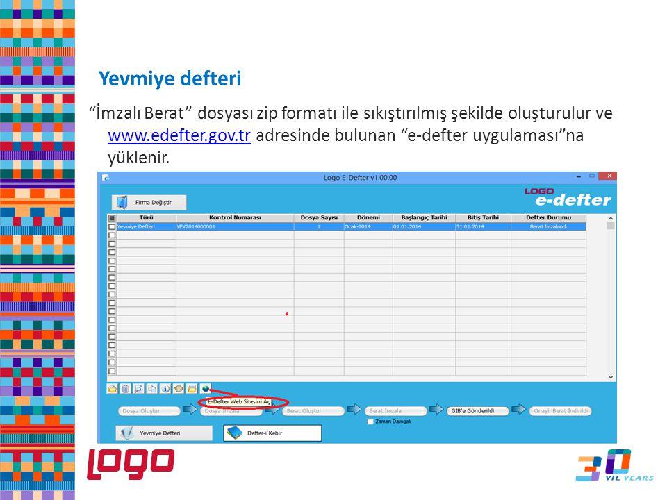 """""""İmzalı Berat"""" dosyası zip formatı ile sıkıştırılmış şekilde oluşturulur ve www.edefter.gov.tr adresinde bulunan """"e-defter uygulaması""""na yüklenir. www"""