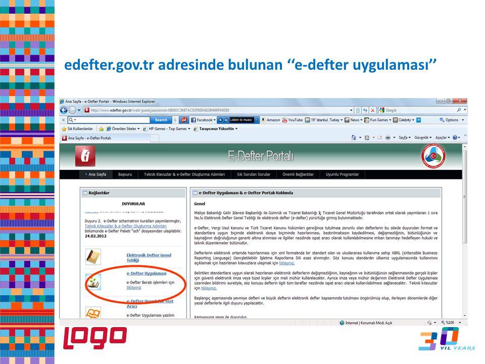 edefter.gov.tr adresinde bulunan ''e-defter uygulaması'' e-Defter