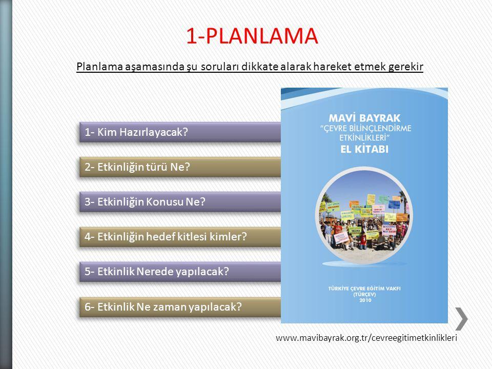 2- Etkinliğin türü Ne? 1-PLANLAMA Planlama aşamasında şu soruları dikkate alarak hareket etmek gerekir 1- Kim Hazırlayacak? 3- Etkinliğin Konusu Ne? 4