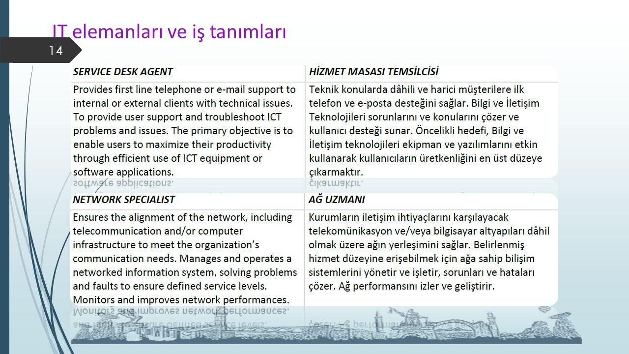 IT elemanları ve iş tanımları 14