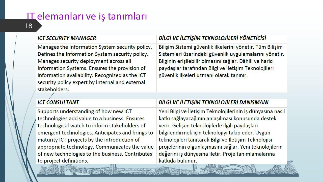 IT elemanları ve iş tanımları 18