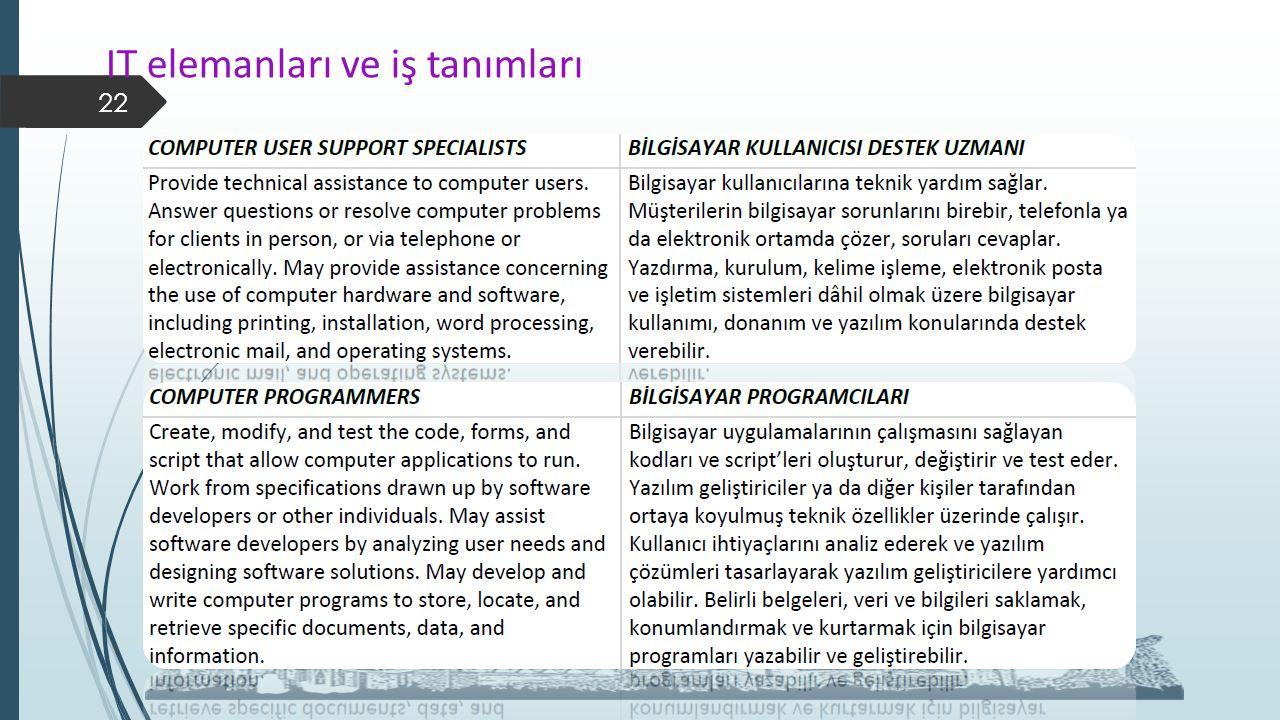 IT elemanları ve iş tanımları 22