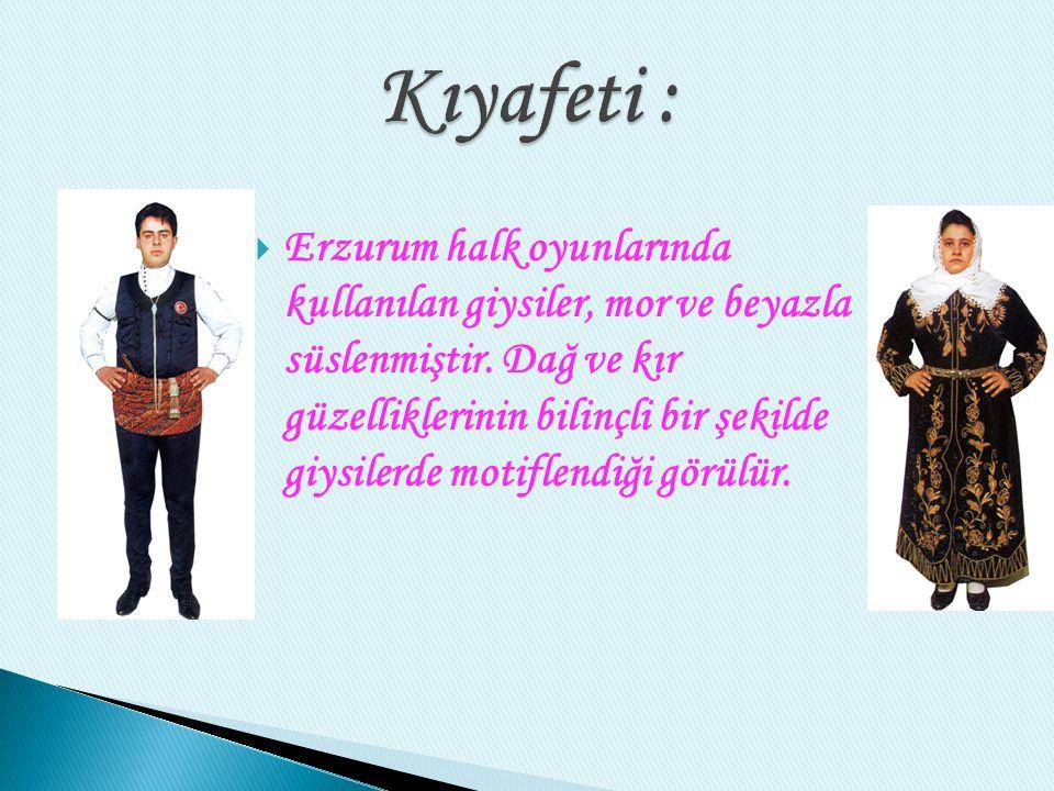  Erzurum halk oyunlarında kullanılan giysiler, mor ve beyazla süslenmiştir.