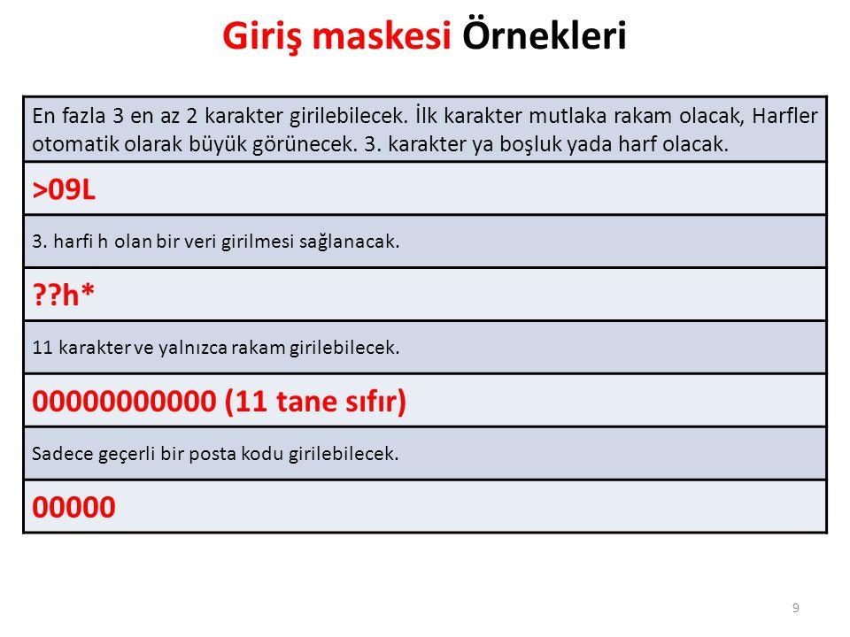 9 Giriş maskesi Örnekleri En fazla 3 en az 2 karakter girilebilecek. İlk karakter mutlaka rakam olacak, Harfler otomatik olarak büyük görünecek. 3. ka