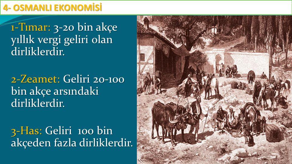 1-Tımar: 3-20 bin akçe yıllık vergi geliri olan dirliklerdir. 2-Zeamet: Geliri 20-100 bin akçe arsındaki dirliklerdir. 3-Has: Geliri 100 bin akçeden f