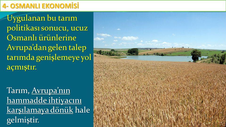 Uygulanan bu tarım politikası sonucu, ucuz Osmanlı ürünlerine Avrupa'dan gelen talep tarımda genişlemeye yol açmıştır. Tarım, Avrupa'nın hammadde ihti