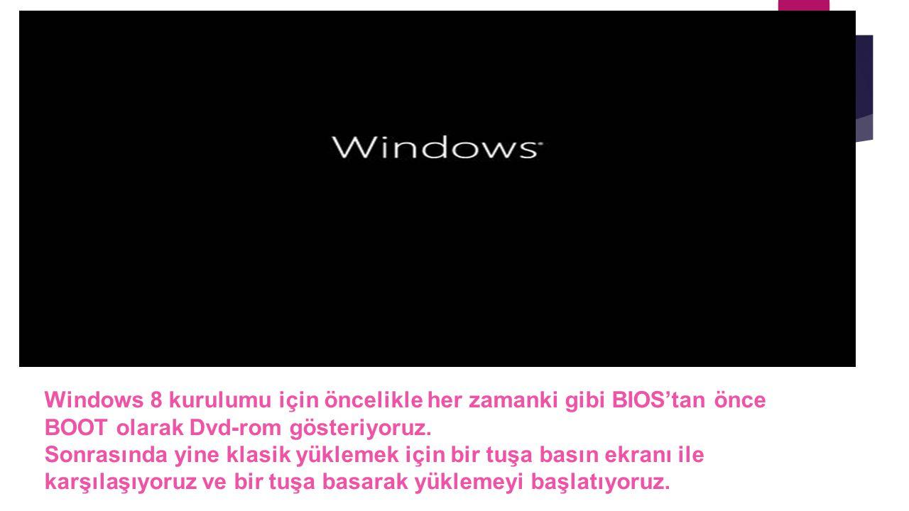 Windows 8 kurulumu için öncelikle her zamanki gibi BIOS'tan önce BOOT olarak Dvd-rom gösteriyoruz. Sonrasında yine klasik yüklemek için bir tuşa basın