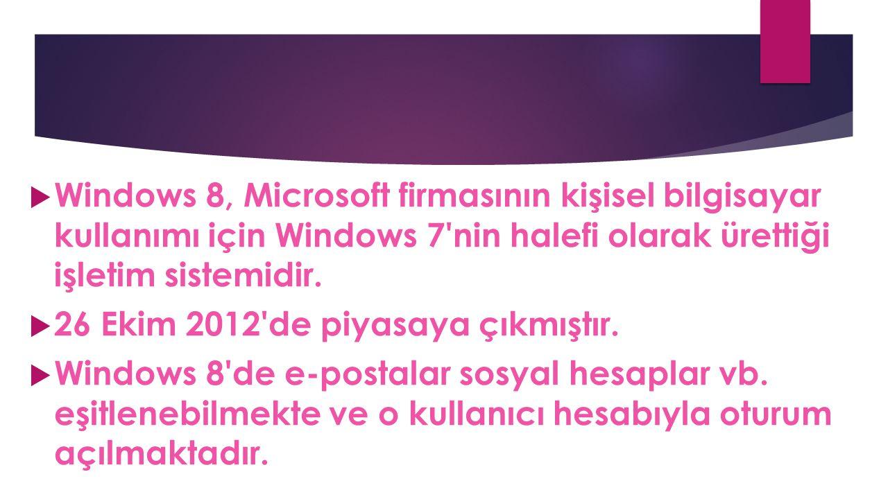  Windows 8, Microsoft firmasının kişisel bilgisayar kullanımı için Windows 7'nin halefi olarak ürettiği işletim sistemidir.  26 Ekim 2012'de piyasay