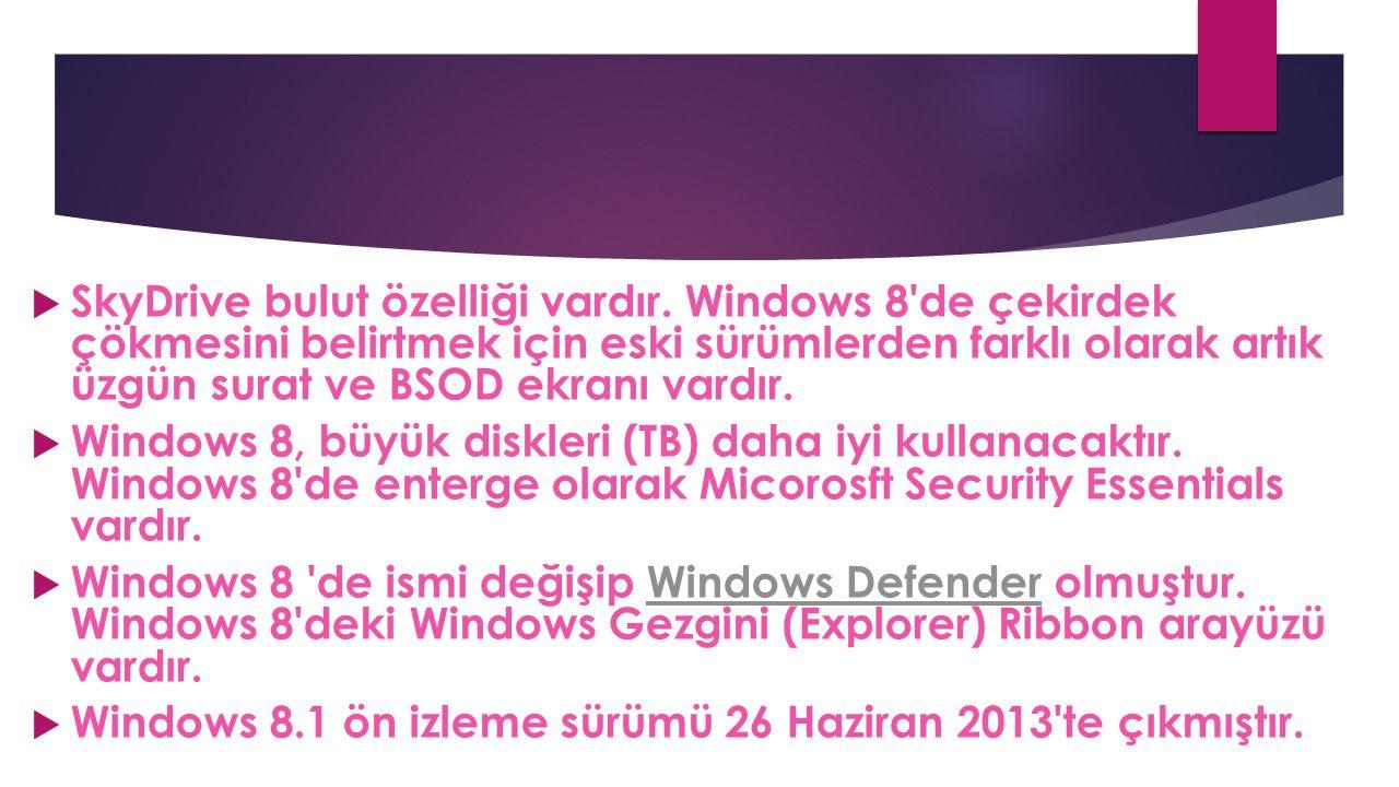  SkyDrive bulut özelliği vardır. Windows 8'de çekirdek çökmesini belirtmek için eski sürümlerden farklı olarak artık üzgün surat ve BSOD ekranı vardı
