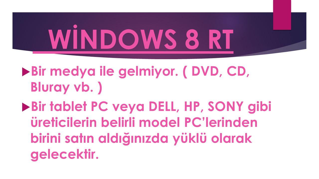 WİNDOWS 8 RT  Bir medya ile gelmiyor. ( DVD, CD, Bluray vb. )  Bir tablet PC veya DELL, HP, SONY gibi üreticilerin belirli model PC'lerinden birini