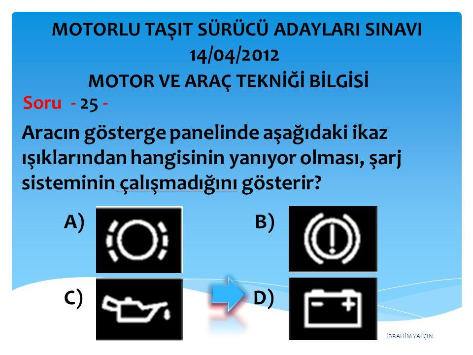 İBRAHİM YALÇIN Aracın gösterge panelinde aşağıdaki ikaz ışıklarından hangisinin yanıyor olması, şarj sisteminin çalışmadığını gösterir.