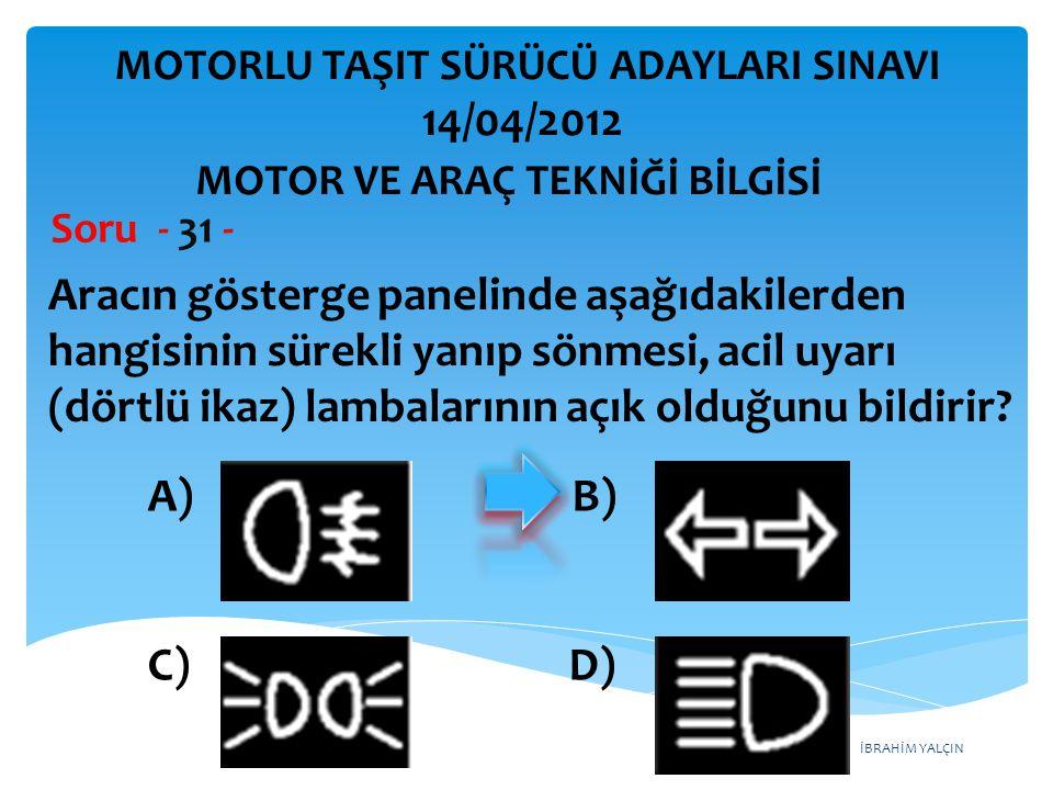 İBRAHİM YALÇIN Aracın gösterge panelinde aşağıdakilerden hangisinin sürekli yanıp sönmesi, acil uyarı (dörtlü ikaz) lambalarının açık olduğunu bildirir.