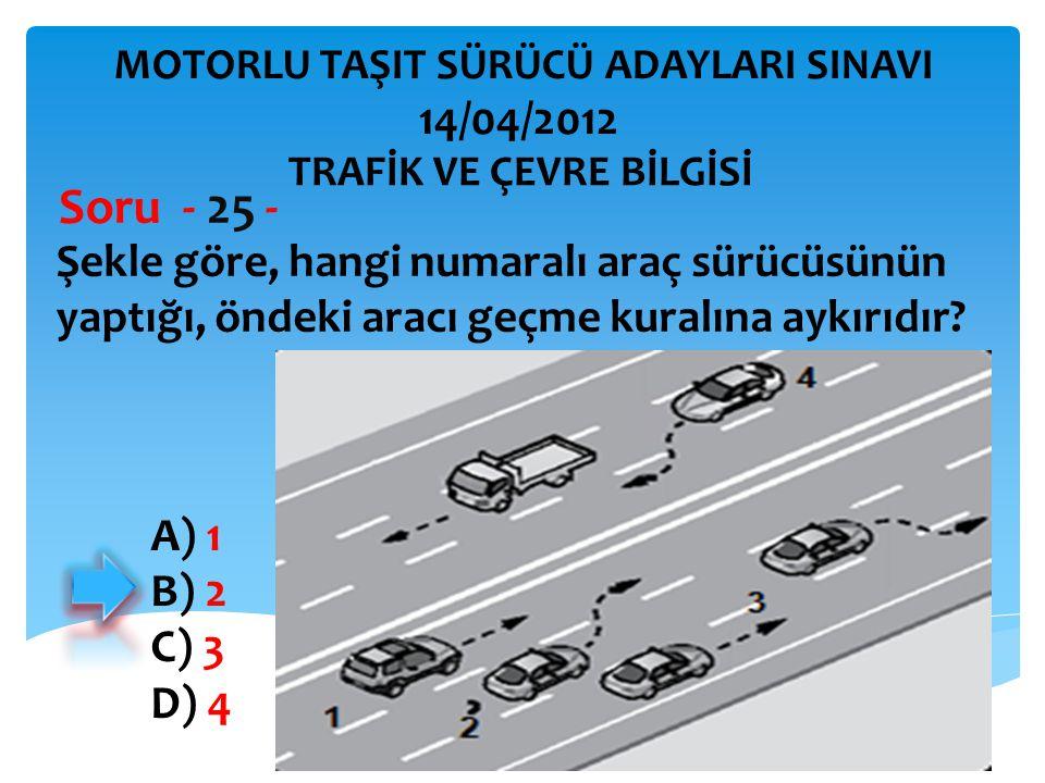 İBRAHİM YALÇIN Şekle göre, hangi numaralı araç sürücüsünün yaptığı, öndeki aracı geçme kuralına aykırıdır.