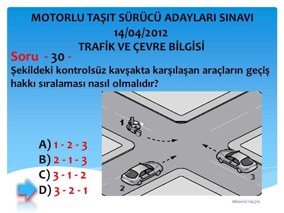 İBRAHİM YALÇIN Şekildeki kontrolsüz kavşakta karşılaşan araçların geçiş hakkı sıralaması nasıl olmalıdır.