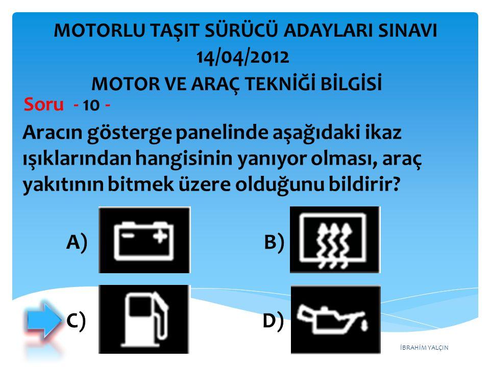 İBRAHİM YALÇIN Aracın gösterge panelinde aşağıdaki ikaz ışıklarından hangisinin yanıyor olması, araç yakıtının bitmek üzere olduğunu bildirir.