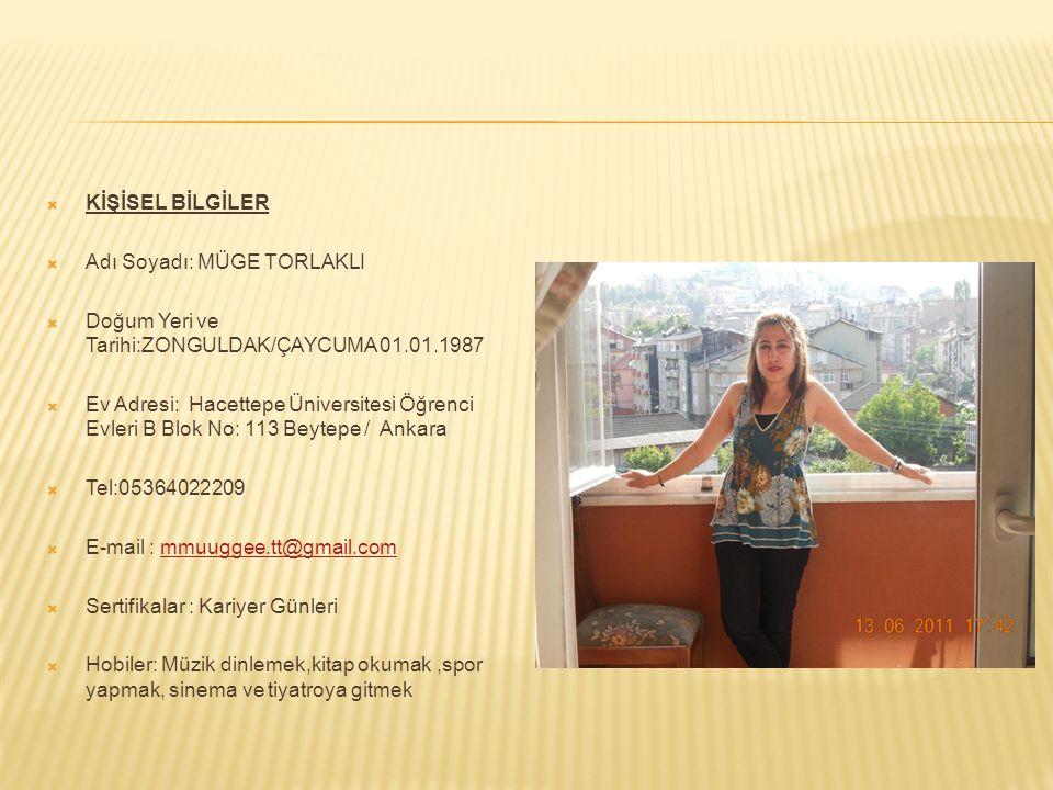  KİŞİSEL BİLGİLER  Adı Soyadı: MÜGE TORLAKLI  Doğum Yeri ve Tarihi:ZONGULDAK/ÇAYCUMA 01.01.1987  Ev Adresi: Hacettepe Üniversitesi Öğrenci Evleri