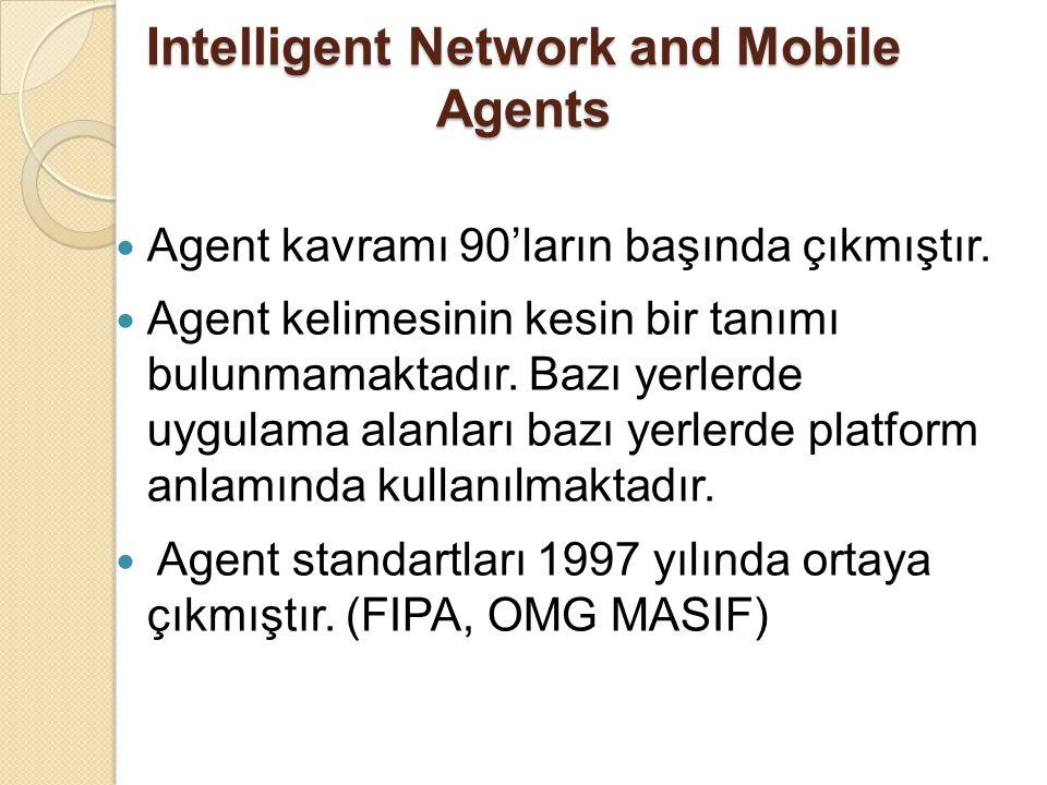 Intelligent Network and Mobile Agents Agent kavramı 90'ların başında çıkmıştır. Agent kelimesinin kesin bir tanımı bulunmamaktadır. Bazı yerlerde uygu