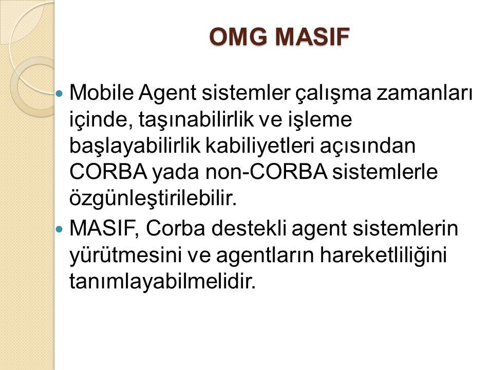 OMG MASIF Mobile Agent sistemler çalışma zamanları içinde, taşınabilirlik ve işleme başlayabilirlik kabiliyetleri açısından CORBA yada non-CORBA siste
