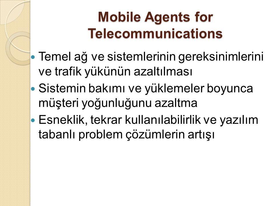 Mobile Agents for Telecommunications Temel ağ ve sistemlerinin gereksinimlerini ve trafik yükünün azaltılması Sistemin bakımı ve yüklemeler boyunca müşteri yoğunluğunu azaltma Esneklik, tekrar kullanılabilirlik ve yazılım tabanlı problem çözümlerin artışı