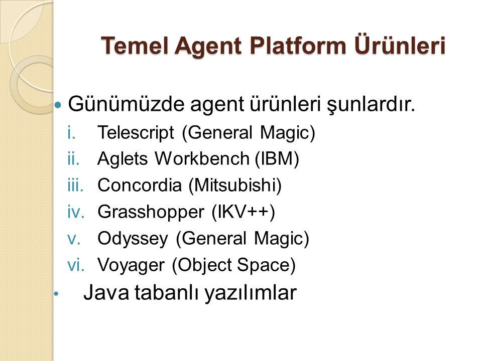 Temel Agent Platform Ürünleri Günümüzde agent ürünleri şunlardır. i.Telescript (General Magic) ii.Aglets Workbench (IBM) iii.Concordia (Mitsubishi) iv