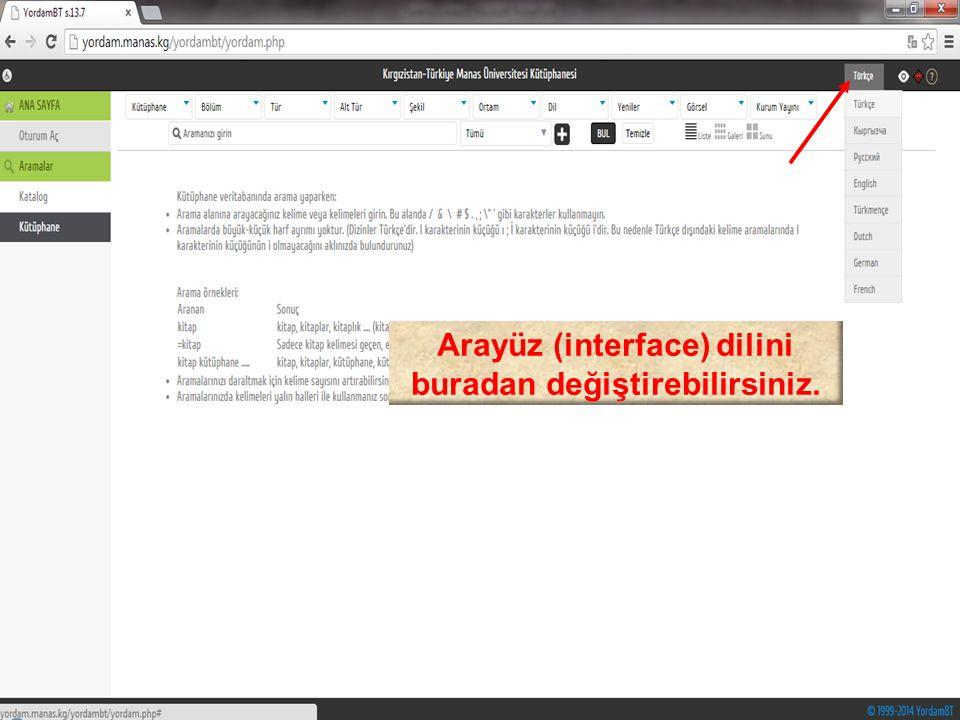 Arayüz (interface) dilini buradan değiştirebilirsiniz.