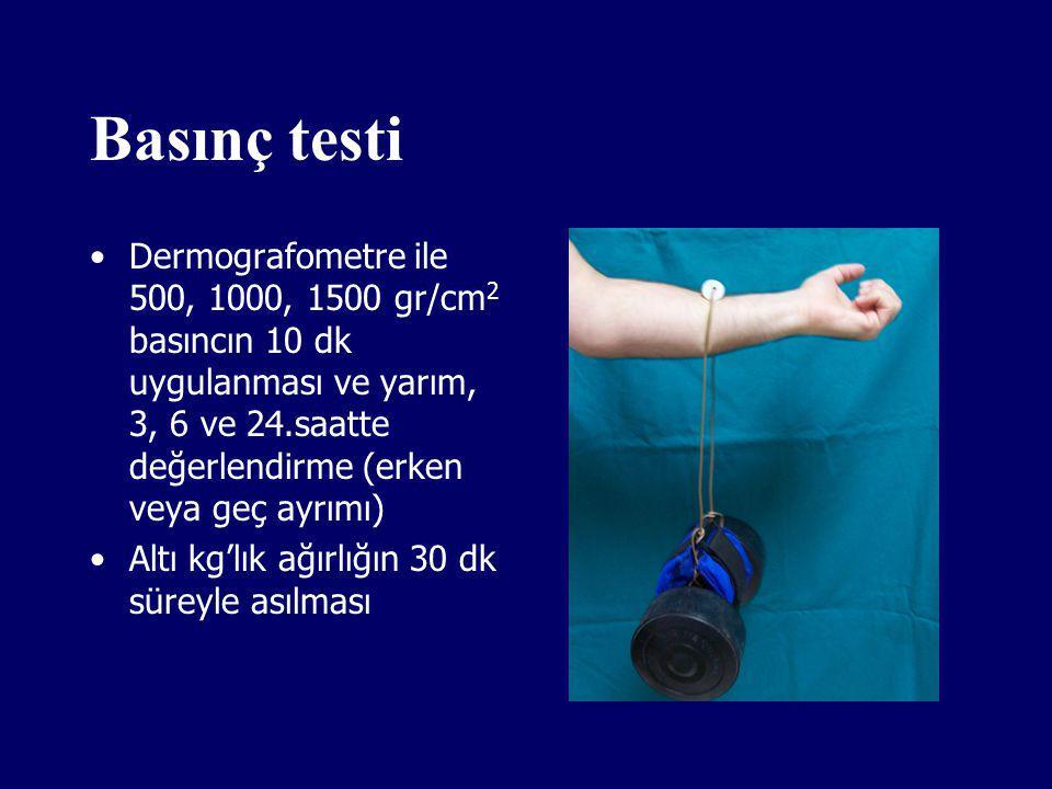 Basınç testi Dermografometre ile 500, 1000, 1500 gr/cm 2 basıncın 10 dk uygulanması ve yarım, 3, 6 ve 24.saatte değerlendirme (erken veya geç ayrımı)