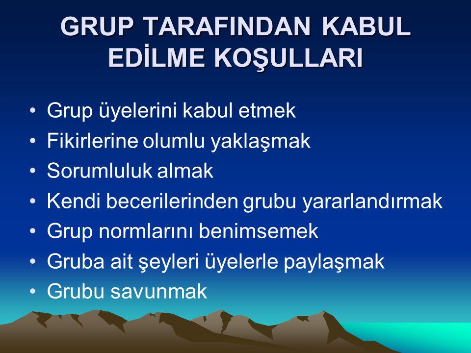GRUP TARAFINDAN KABUL EDİLME KOŞULLARI Grup üyelerini kabul etmek Fikirlerine olumlu yaklaşmak Sorumluluk almak Kendi becerilerinden grubu yararlandır
