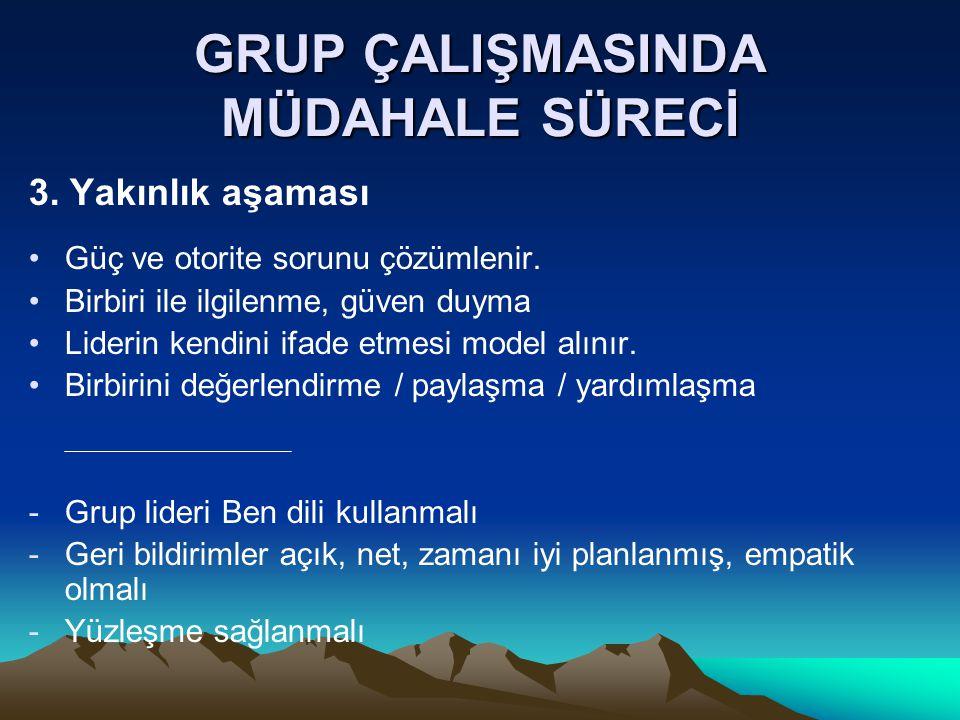 GRUP ÇALIŞMASINDA MÜDAHALE SÜRECİ 3.Yakınlık aşaması Güç ve otorite sorunu çözümlenir.
