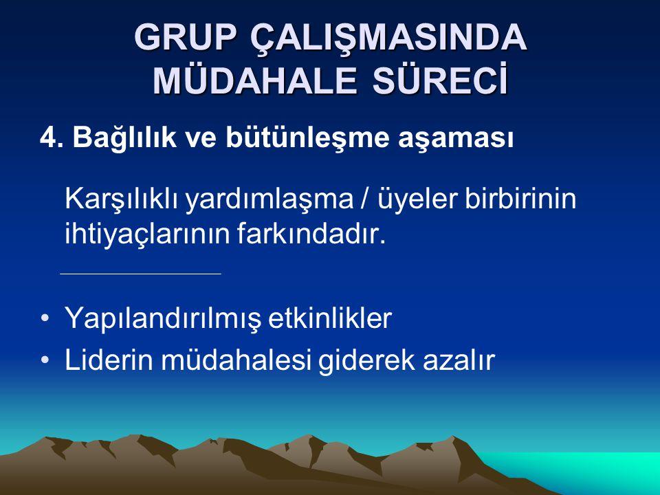 GRUP ÇALIŞMASINDA MÜDAHALE SÜRECİ 4. Bağlılık ve bütünleşme aşaması Karşılıklı yardımlaşma / üyeler birbirinin ihtiyaçlarının farkındadır. Yapılandırı