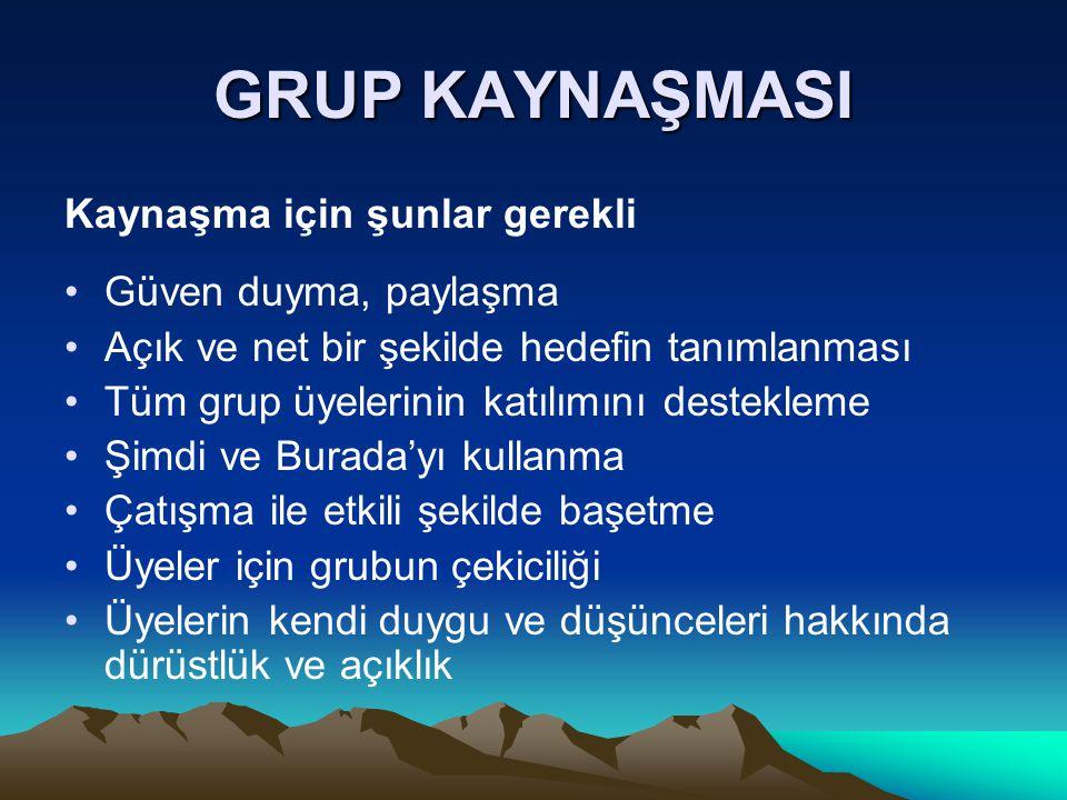 GRUP KAYNAŞMASI Kaynaşma için şunlar gerekli Güven duyma, paylaşma Açık ve net bir şekilde hedefin tanımlanması Tüm grup üyelerinin katılımını destekl