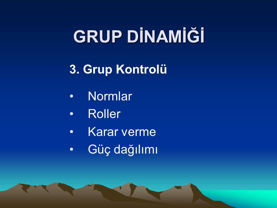 GRUP DİNAMİĞİ 3. Grup Kontrolü Normlar Roller Karar verme Güç dağılımı