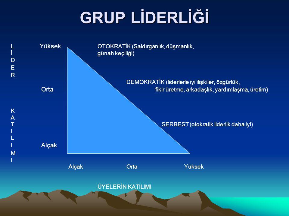 GRUP LİDERLİĞİ L Yüksek OTOKRATİK (Saldırganlık, düşmanlık, İgünah keçiliği) D E R DEMOKRATİK (liderlerle iyi ilişkiler, özgürlük, Orta fikir üretme, arkadaşlık, yardımlaşma, üretim) K A T SERBEST (otokratik liderlik daha iyi) I L I Alçak M I AlçakOrtaYüksek ÜYELERİN KATILIMI
