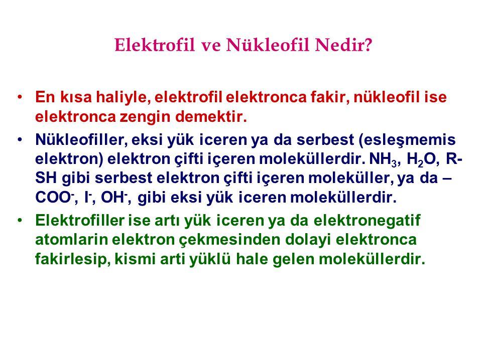 Elektrofil ve Nükleofil Nedir? En kısa haliyle, elektrofil elektronca fakir, nükleofil ise elektronca zengin demektir. Nükleofiller, eksi yük iceren y