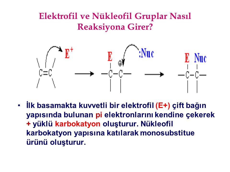 Elektrofil ve Nükleofil Gruplar Nasıl Reaksiyona Girer? İlk basamakta kuvvetli bir elektrofil (E+) çift bağın yapısında bulunan pi elektronlarını kend