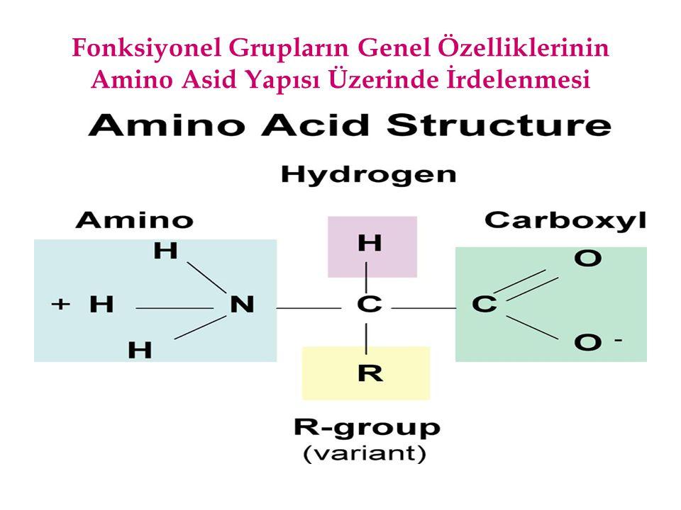 Fonksiyonel Gruplara Bağlanan R Gruplarının Genel Yapısı ve Adlandırılması Organik kimyada C n H 2n+2 genel formülü ile gösterilen alkan grubu bileşikler biyomoleküller sınıflandırmasına dahil olmasa da, bu bileşiklerden bir hidrojen atomunun çıkmasıyla oluşan ve C n H 2n+ 1 yapısındaki R harfi ile gösterilen alkiller, biyomoleküllerdeki fonksiyonel gruplara bağlanırlar.