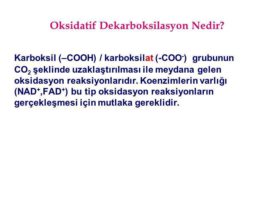 Oksidatif Dekarboksilasyon Nedir? Karboksil (–COOH) / karboksilat (-COO - ) grubunun CO 2 şeklinde uzaklaştırılması ile meydana gelen oksidasyon reaks