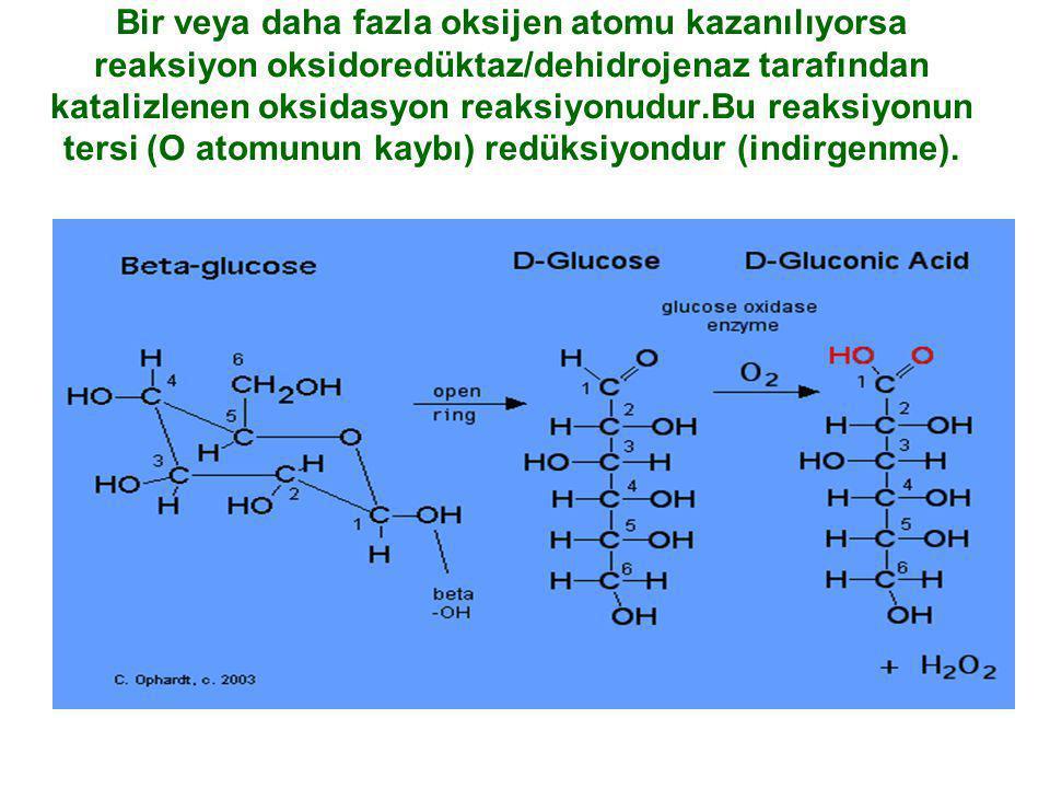 Bir veya daha fazla oksijen atomu kazanılıyorsa reaksiyon oksidoredüktaz/dehidrojenaz tarafından katalizlenen oksidasyon reaksiyonudur.Bu reaksiyonun