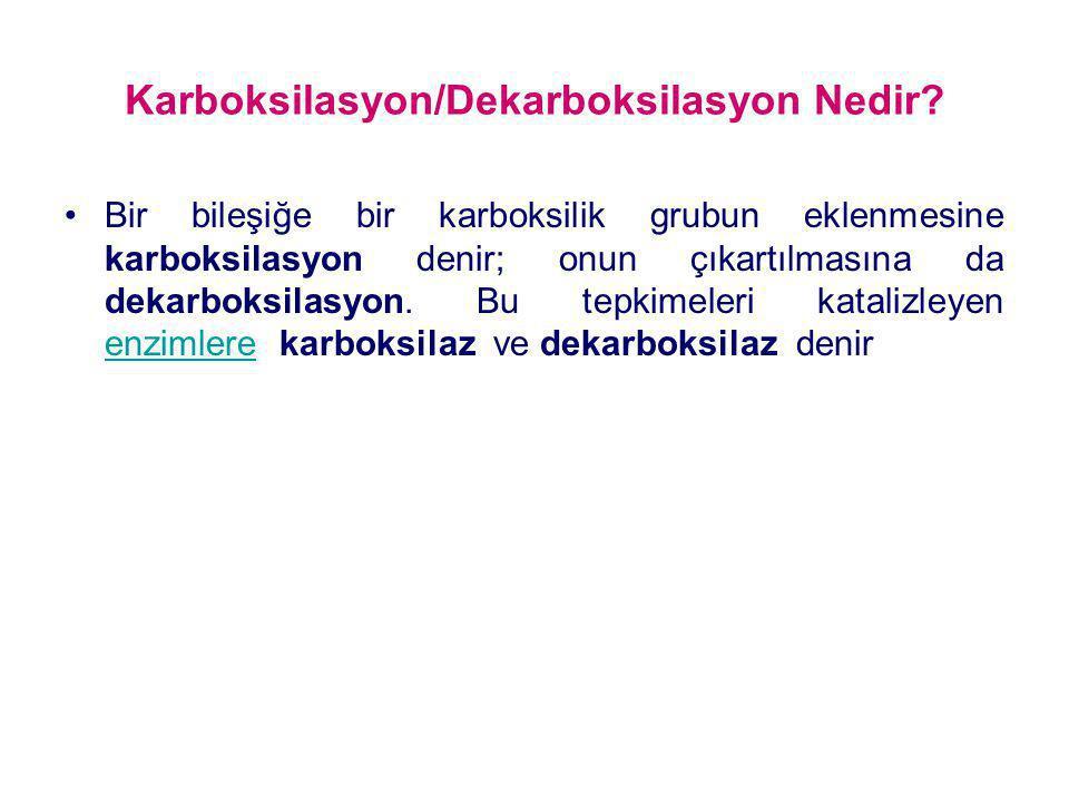 Karboksilasyon/Dekarboksilasyon Nedir? Bir bileşiğe bir karboksilik grubun eklenmesine karboksilasyon denir; onun çıkartılmasına da dekarboksilasyon.