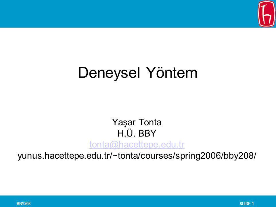 SLIDE 1BBY208 Deneysel Yöntem Yaşar Tonta H.Ü. BBY tonta@hacettepe.edu.tr yunus.hacettepe.edu.tr/~tonta/courses/spring2006/bby208/