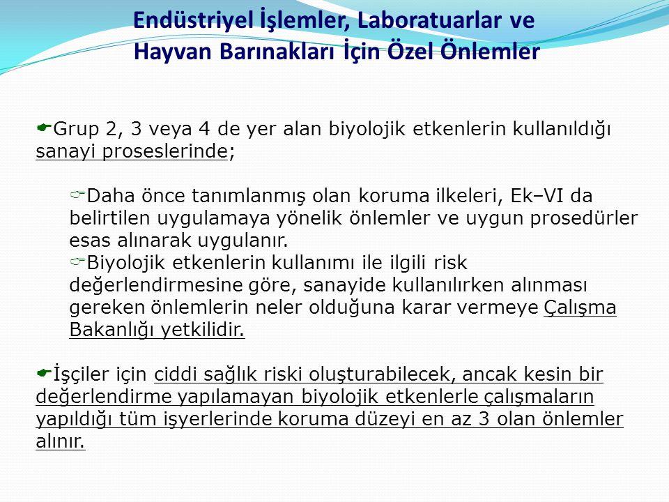  Grup 2, 3 veya 4 de yer alan biyolojik etkenlerin kullanıldığı sanayi proseslerinde;  Daha önce tanımlanmış olan koruma ilkeleri, Ek–VI da belirtil