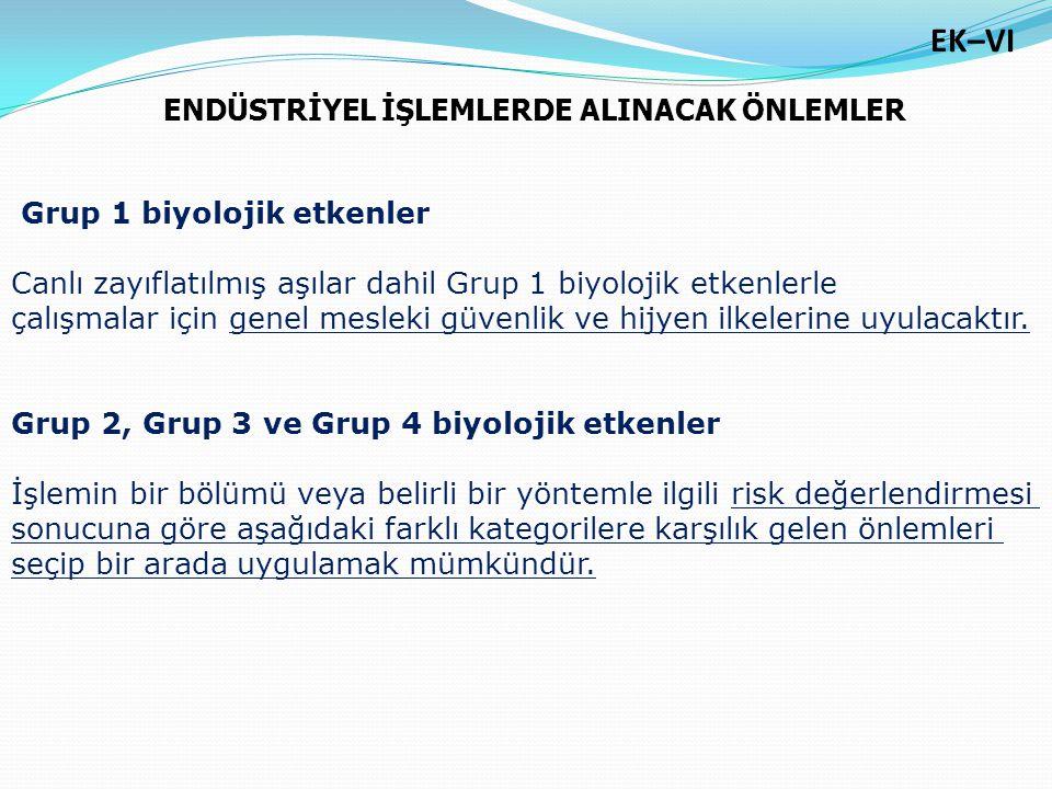 Grup 1 biyolojik etkenler Canlı zayıflatılmış aşılar dahil Grup 1 biyolojik etkenlerle çalışmalar için genel mesleki güvenlik ve hijyen ilkelerine uyu