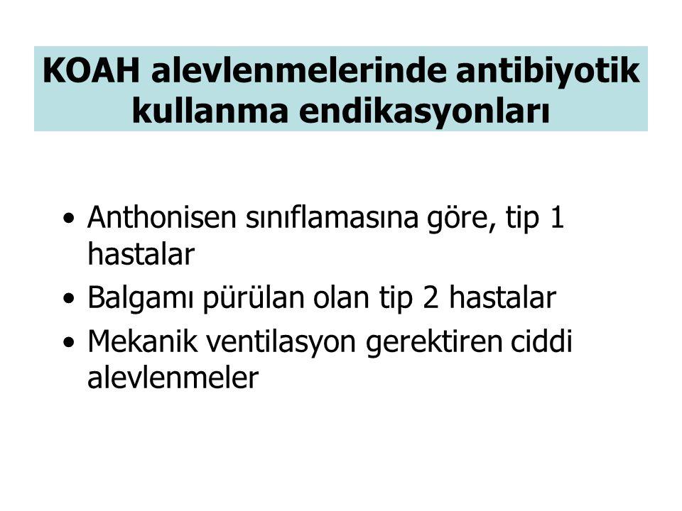 KOAH alevlenmelerinde antibiyotik kullanma endikasyonları Anthonisen sınıflamasına göre, tip 1 hastalar Balgamı pürülan olan tip 2 hastalar Mekanik ventilasyon gerektiren ciddi alevlenmeler