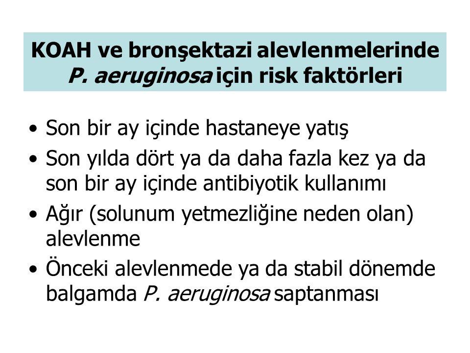 KOAH ve bronşektazi alevlenmelerinde P. aeruginosa için risk faktörleri Son bir ay içinde hastaneye yatış Son yılda dört ya da daha fazla kez ya da so