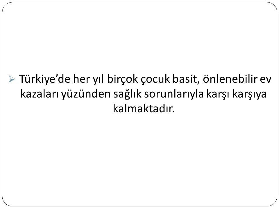  Türkiye'de her yıl birçok çocuk basit, önlenebilir ev kazaları yüzünden sağlık sorunlarıyla karşı karşıya kalmaktadır.
