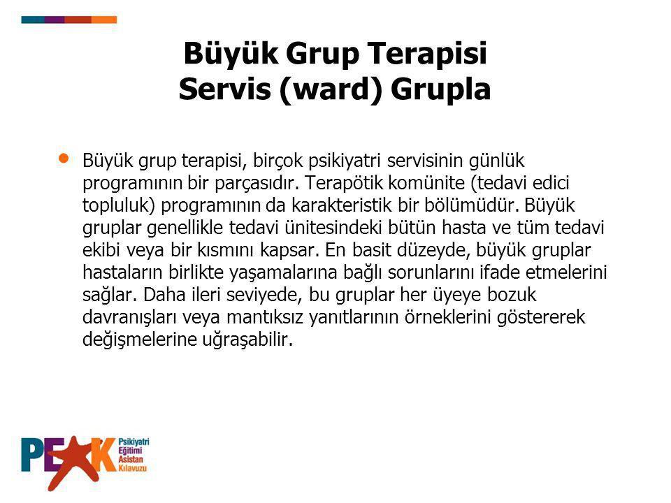 Büyük Grup Terapisi Servis (ward) Grupla Büyük grup terapisi, birçok psikiyatri servisinin günlük programının bir parçasıdır.