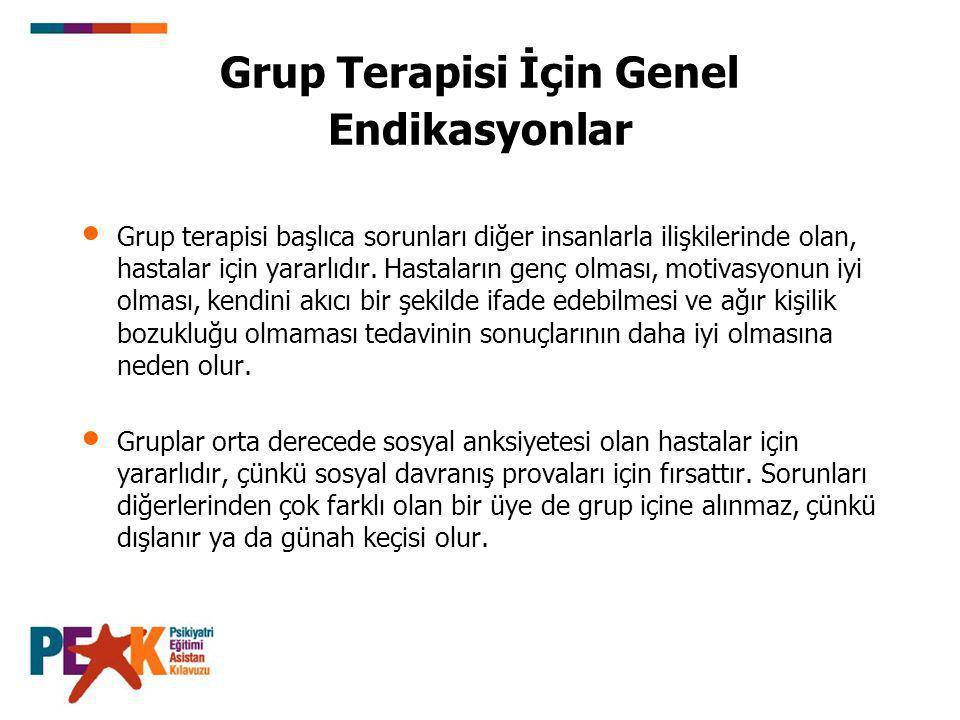 Grup Terapisi İçin Genel Endikasyonlar Grup terapisi başlıca sorunları diğer insanlarla ilişkilerinde olan, hastalar için yararlıdır.