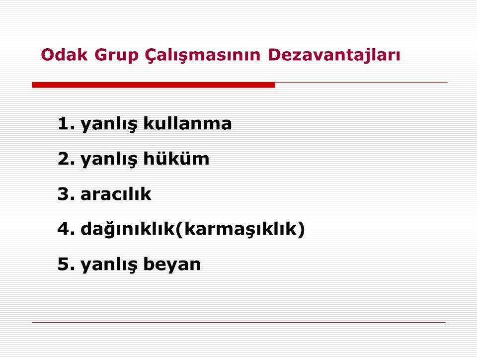 Odak Grup Çalışmasının Dezavantajları 1.yanlış kullanma 2.yanlış hüküm 3.aracılık 4.dağınıklık(karmaşıklık) 5.yanlış beyan