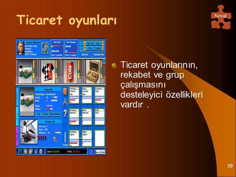 39 Ticaret oyunlarının, rekabet ve grup çalışmasını desteleyici özellikleri vardır. Ticaret oyunları Neval