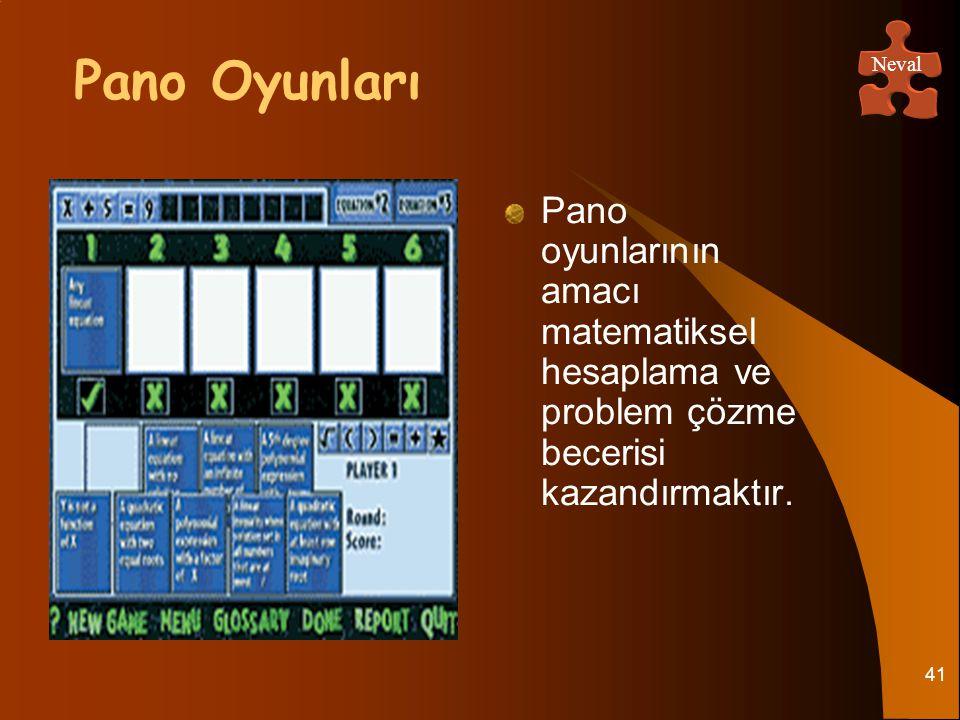 41 Pano oyunlarının amacı matematiksel hesaplama ve problem çözme becerisi kazandırmaktır. Pano Oyunları Neval